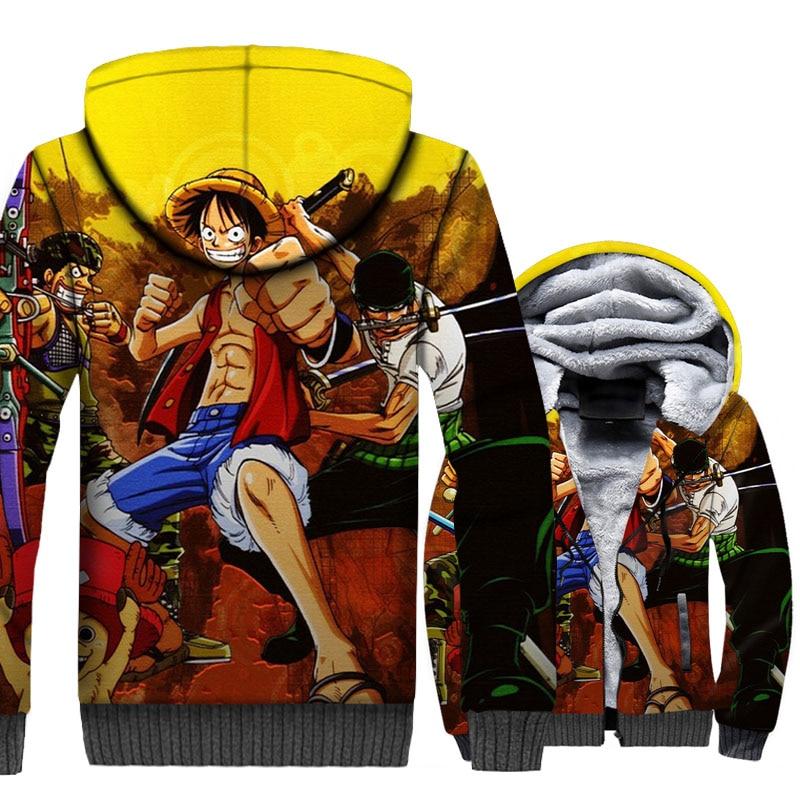 Japan Anime Jackets Men One Piece 3D Hoodies Zoro Luffy Sweatshirts Winter Thick Fleece The Pirate King Coat Cool Streetwear