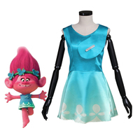 Movie Trolls Princess Poppy Dress Adult Women Summer Clothes Halloween Carnival Party Cosplay Costume Custom Made
