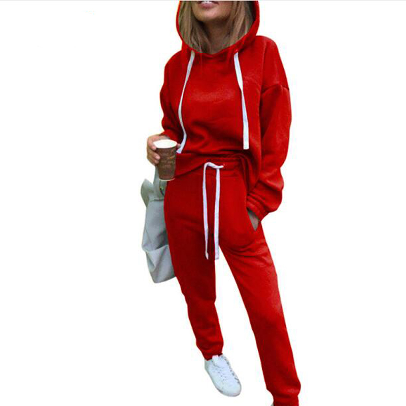 Fall Winter Sporting Suit Long Sleeve Thicken Hooded Sweatshirts 2 Piece Set Casual Sport Suit Women Tracksuit Set Top and Pants