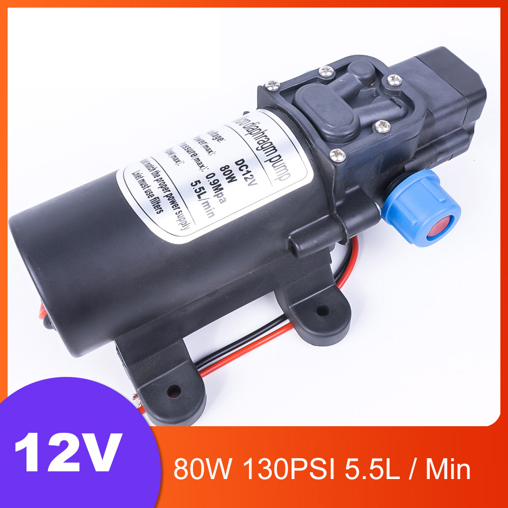 DC 12V 80W 130PSI 5.5L / Min Agricultural Electric Automatic Switch Water Pump Micro High Pressure Diaphragm Water Sprayer