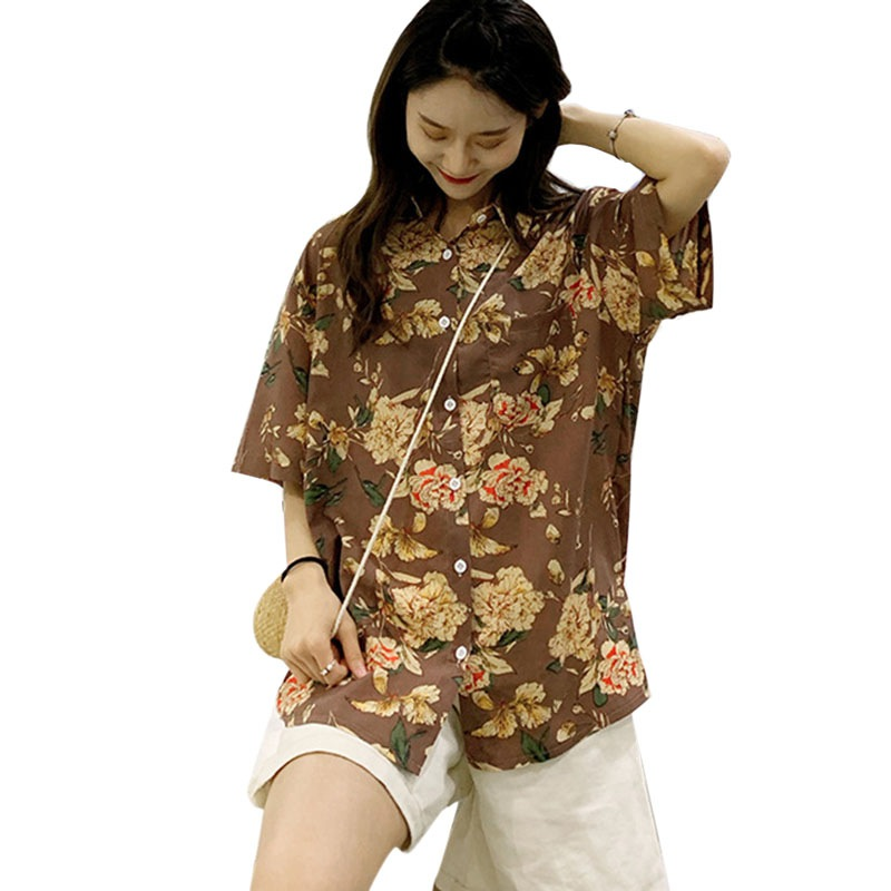 Casual Summer Short Sleeve Shirt Turn Down Collar Women Blouses Flower Print Chiffon Blouse