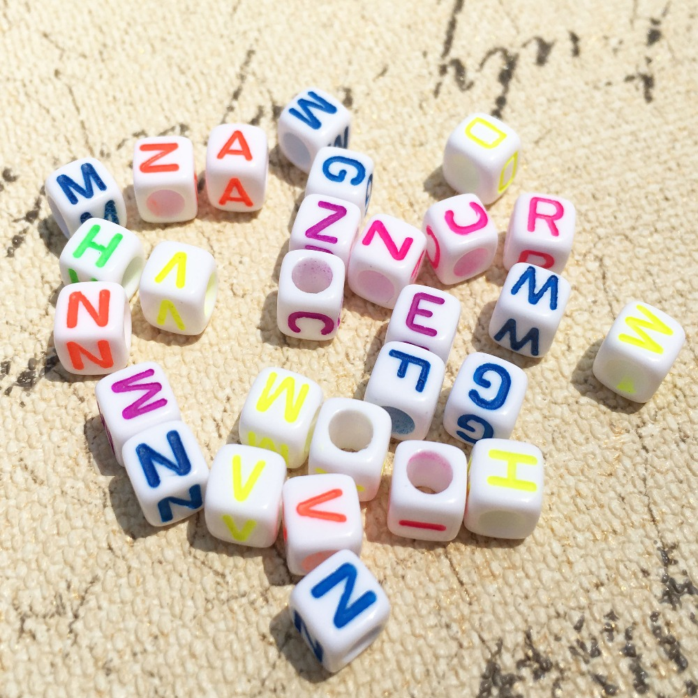 Beads & Jewelry Making New Cube Mixed Neon Colors Acrylic Letter Beads 6*6mm 3000pcs/lot Diy Jewelry Findings Plastic English Character Alphabet Beads 2019 Latest Style Online Sale 50%