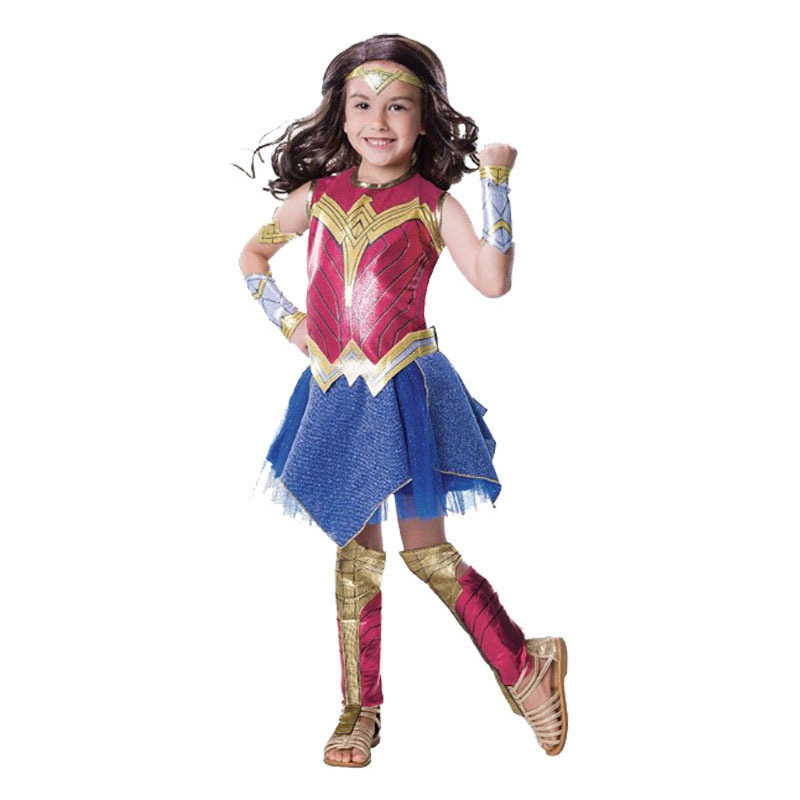 Halloween Child Kids Girl's Wonder Woman Cosplay Costume Dress Outfit Superhero Halloween Carnival Cosplay Costume Clothing Set
