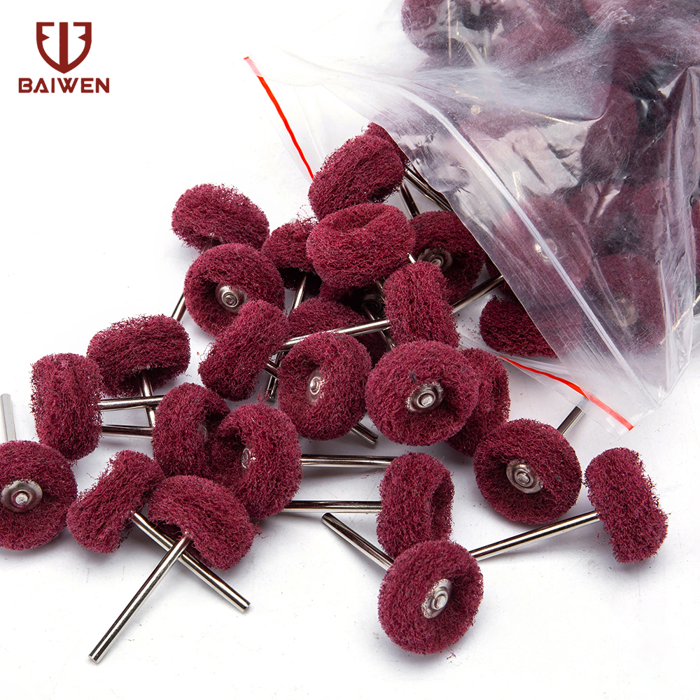 10-100pcs Red Brush Scouring Pad Abrasive Wheel Nylon Fiber Grinding Sanding Head Buffing Polishing Wheel 25mm Set Grit240