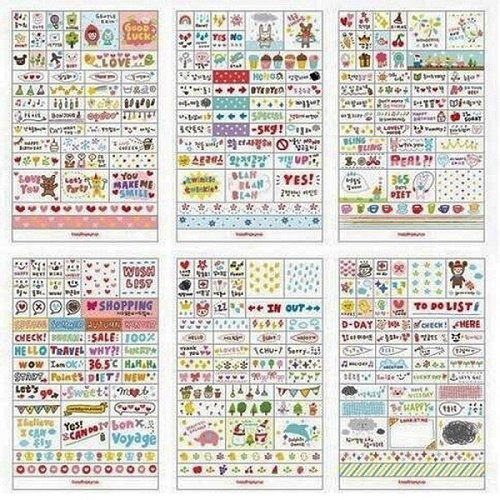 6pcs//lot Diary Decoration Scrapbooking Transparent Stationery Planner Sticker