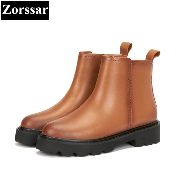 {Zorssar} Woman Fashion Genuine Leather Ankle Martin Boots Female slip on Flats Heel Casual short shoes Spring Autumn women Shoe women led light shoes casual shoes led luminous boots unisex genuine leather ankle boots women usb charging martin boots 35 46