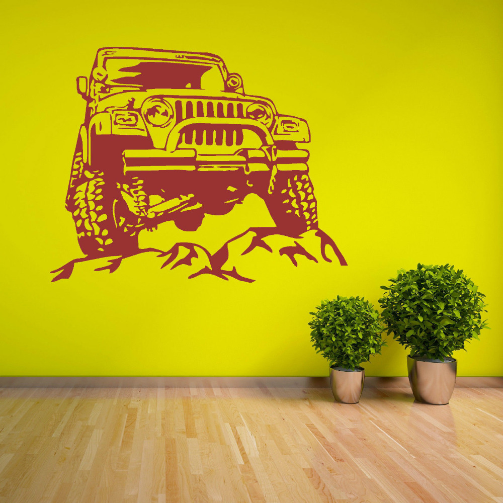 Jeeps Rock Car Racing Vinyl Wall Decal Art Sticker Man Cave Decor ...