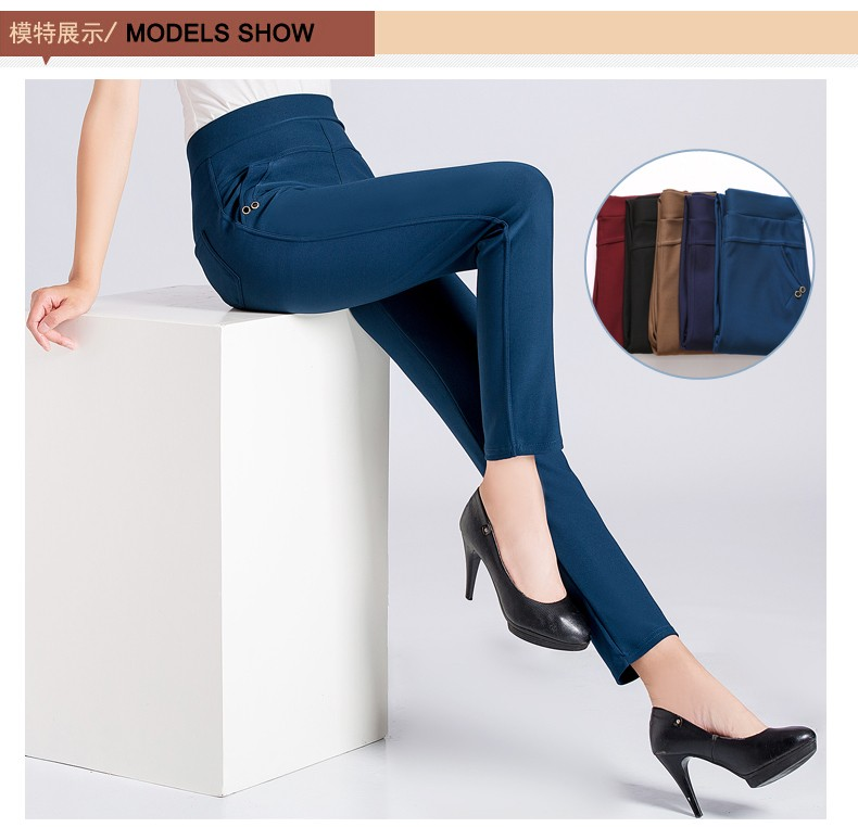 Women Casual Pants 2016 Autumn Middle Aged Womens Wine Red Dark Blue Black Khaki Trousers Mother  High Waist Pant XL 2XL 3XL 4XL Pantalones (3)
