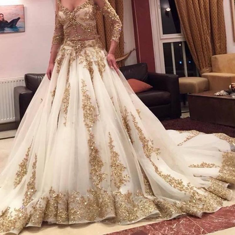 2019 Luxury Two Pieces Indian Wedding Dresses White Gold Applique Deep V Neck Long Sleeves Bridal