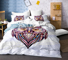 цены Owl Duvet Cover Set Kids Cartoon 3d Bedding Sets 3pcs Cotton Quilt Cover and Pillowcases Twin Double Queen King Size