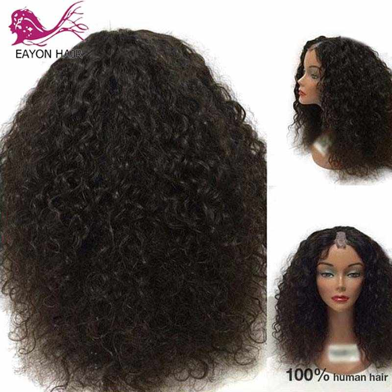 EAYON 180% Density Afro Kinky Curly U Part Wig Human Hair Virgin Mongolian Remy Human Hair Upart Wigs Kinky Curls For Women