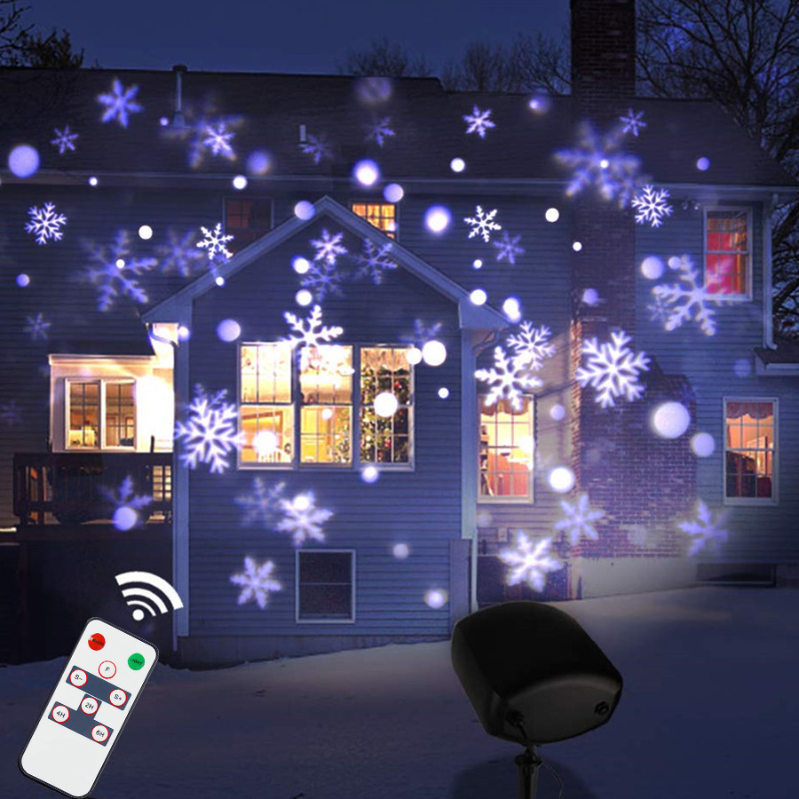 цена Thrisdar Upgrade Moving Snowfall Projector Christmas Lamp With Remote Outdoor Snowflakes Projector Wedding Party Landscape Light онлайн в 2017 году