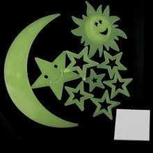 Stars Moon Sun Glow In The Dark Luminous Fluorescent Home Wall Stickers Decal New fashion design, Very popular(China)