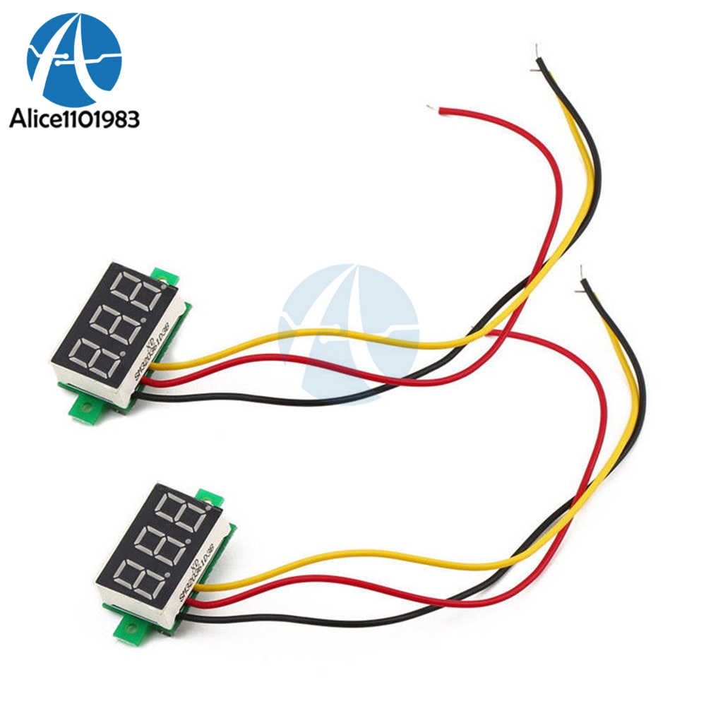 Blue/Red/Yellow/Green 0.28 Inch 2 Wire Mini DC Digital Panel Voltmeter Panel Mount Three Digit LED Digital Tube Adjustment