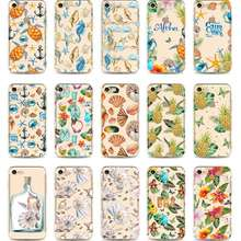 Ultra Thin Transparent Silicone Phone Case For iPhone 5s Se X 10 6 6S 7 8 Plus Case Summer Ocean Sea Shell Conch Color Painting(China)