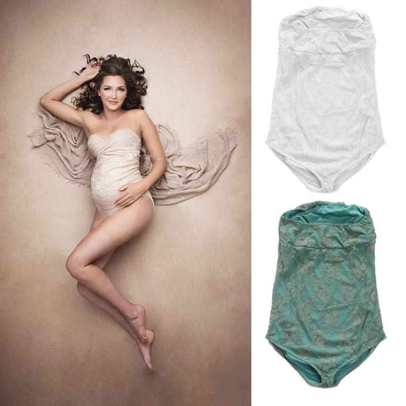 Maternity Lace Rompers for Pregnancy Photography Props Pregnant Women Photo Shoot Dress Clothes