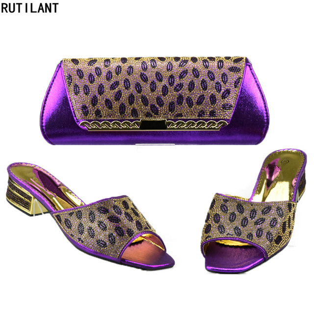 Wine Color Italian Shoes with Matching Bag Set Decorated with Rhinestone Shoes and Bag Set African Sets 2018 Nigerian Women Shoe