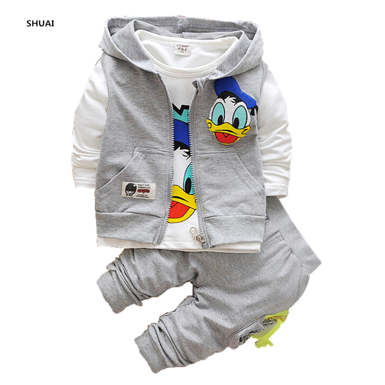 New Donald Duck Boys Clothing Sets Kids Autumn Character Cotton Long Sleeve Shirt +Pants+ Vest 3 Pcs Suit Children Clothes Set