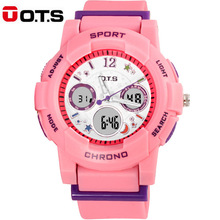 OTS Waterproof Fashion Casual Children Kids Boys Digital LED Quartz Alarm Date Mutifunction Sports Wrist Watch as Gift