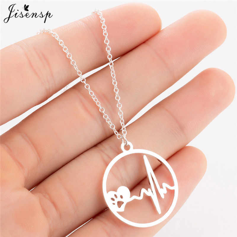 Jisensp Hollow Pet Paw Footprint Dog Necklace for Women Cute Animal Love Heart Pendant Necklace Stainless Steel Heartbeat kolye