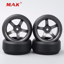 4Pcs/Set 1:10 Scale Drift Tires and Wheel Rim with 12mm Hex fit HPI HSP On-Road Car Accessories