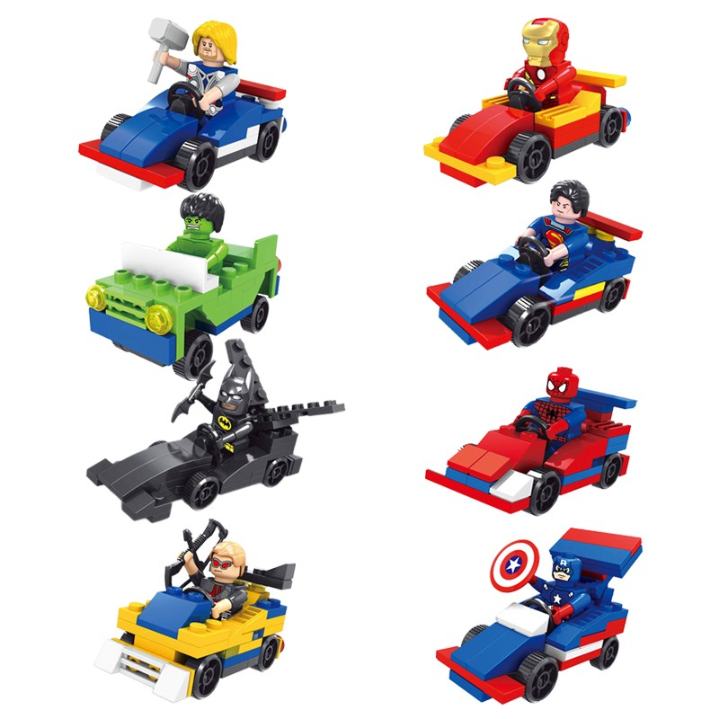 Marvel dc super heroes with vehicle lot of 16 set building block...