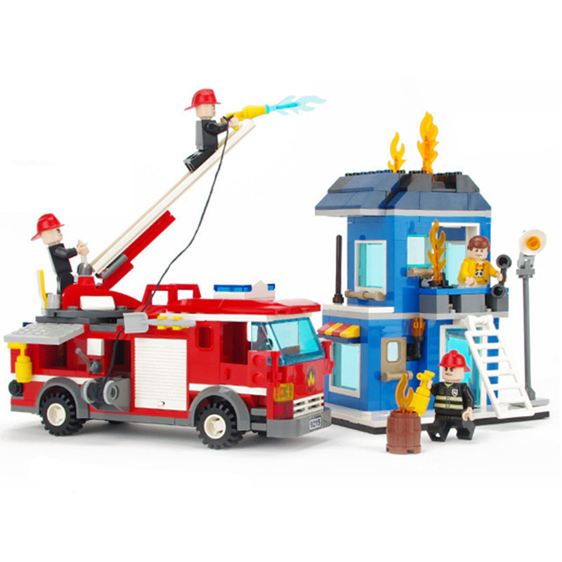 GUDI City Fire Emergency Truck Blocks 431pcs Bricks Building Block Sets Model Educational Toys For Children loz mini diamond block world famous architecture financial center swfc shangha china city nanoblock model brick educational toys