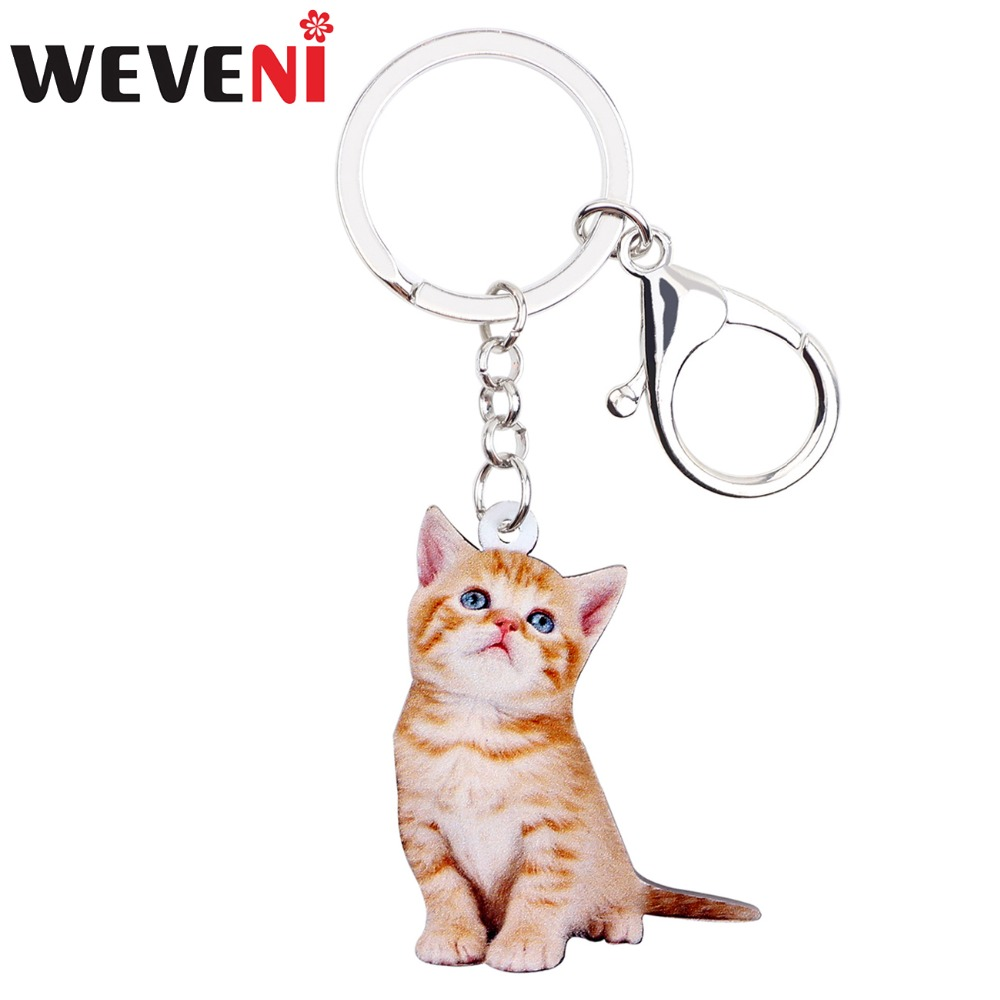 WEVENI Acrylic Cheap Lovely Kitten Cat Key Chains Pendant Rings Trendy Jewelry For Women Girl Teens Ladies Holder Car Charms