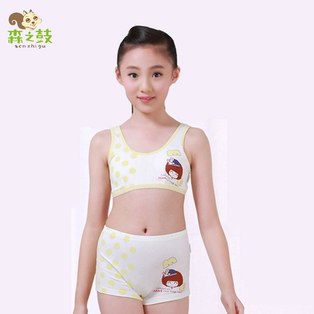 aac2c3039f5 Girl Cotton Underwear Set Kids Training Bras Vest n Panty Boxer Girls Cosy  Undies Puberty Children Teenagers Student Sport Set