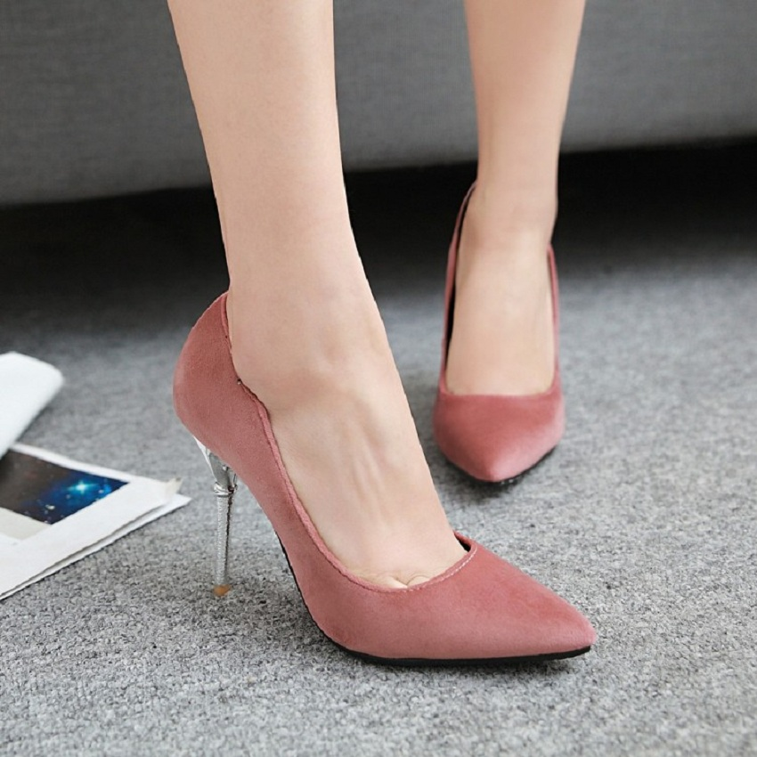 Fashion red wedding shoes woman  plus size autumn pointed toe elegant women shoes velvet black thin heels super high heel shoes spring autumn shoes woman pointed toe metal buckle shallow 11 plus size thick heels shoes sexy career super high heel shoes