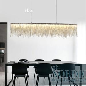 Image 2 - Design moderno decorativa Lampade A Sospensione Nordic nappa catena di ingegneria ristorante hotel di lusso soggiorno illuminazione artistica