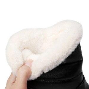 Image 4 - MORAZORA 2020 جديد وصول النساء حذاء من الجلد مقاوم للماء عدم الانزلاق الثلوج الأحذية الدفء بسيطة أحذية الشتاء غير رسمية امرأة حذاء مسطح