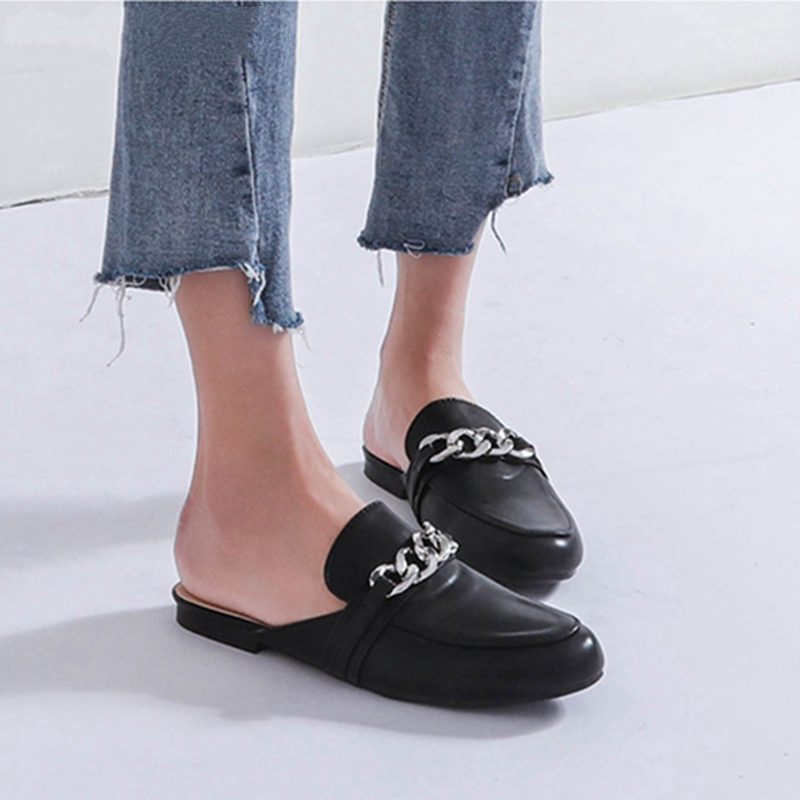2018 Summer Women Slippers Plus Size 36-41 Fashion Chian Decoration Flat Outside Ladies Casual Mules Slides Shoes