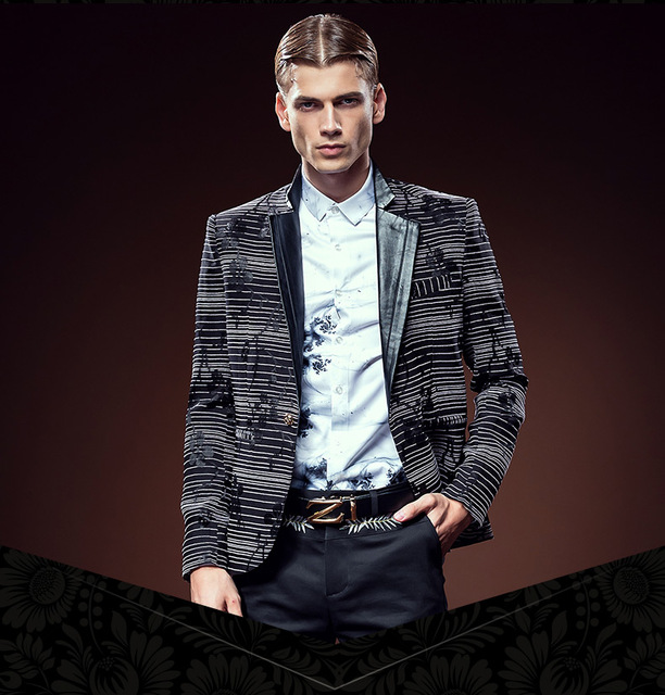 Free Shipping men's male New fashion customized Stylish tailored stripe jacquard blazer noble suit jacket 610032 custom-made