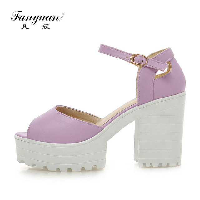 2017 Summer Sweet Women Sandals Buckle Ankle Strap Solid Super High Square Thick Heels Platform Female Casual Shoes Size 34-43
