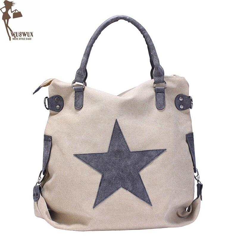 new fashion canvas women shoulder bag Pentagram Matte leather handbags Large capacity vintage style