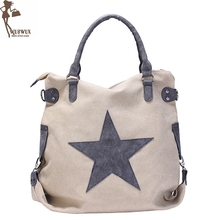 new fashion canvas women shoulder bag Pentagram Matte leather handbags Large capacity vintage style