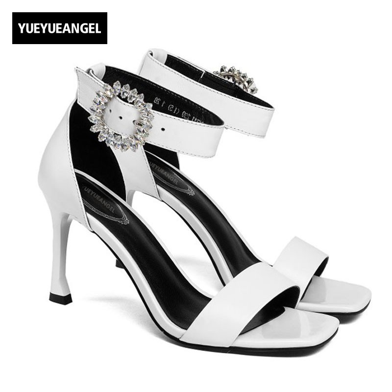 Top Quality Women Sexy High Heels Sandals Peep Toe Crystal Ankle Buckle Strap Office Ladies Summer Sandals Genuine Leather Shoes все цены