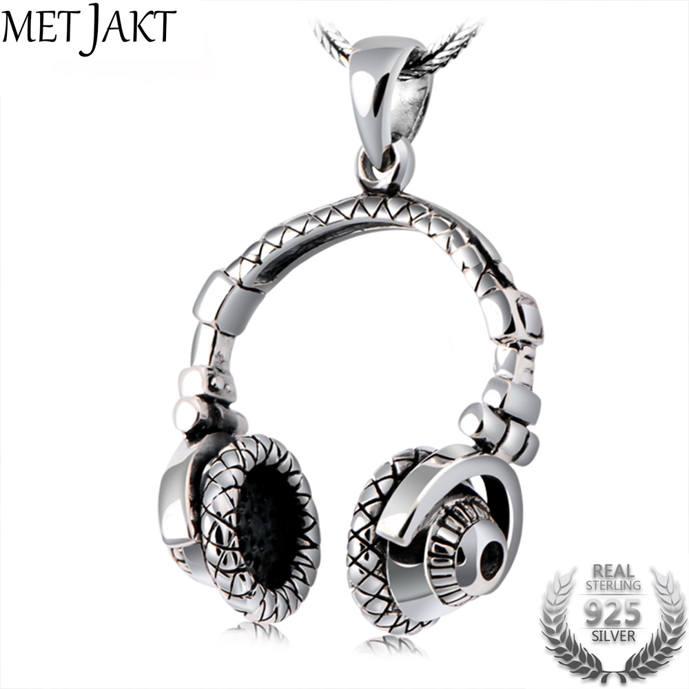 MetJakt Punk 925 Sterling Silver Headset Pendants and Silver Snake Chain Necklace Men's Hiphop Rock Handmade Jewelry metjakt punk buddhism 925 sterling silver peace pendant necklace and snake chain unisex exorcise evil spirits jewelry