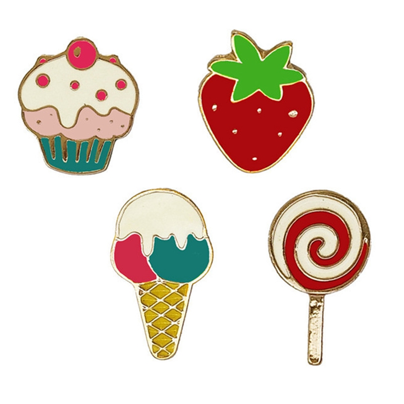Ice cream lollipop cake strawberry metal collar drip oil brooch - Cute Enamel Brooches Pins Badge pin Jeans Clothes Badge