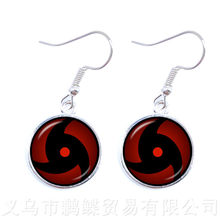 2018 New Japan NARUTO Sharingan Earrings Uzumaki Naruto Red Eye 16mm Glass Cabochon Drop Earrings Jewelry For Friends(China)