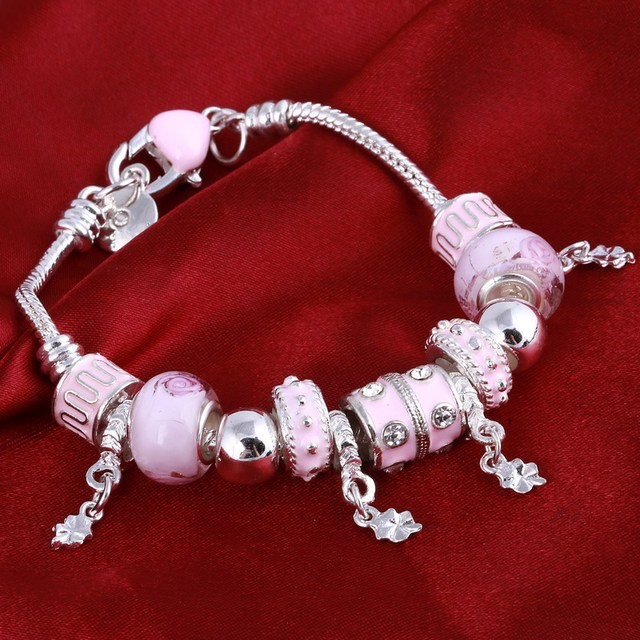 ZOSHI Pink Crystal Charm Silver Bracelets & Bangles for Women With Aliexpress Murano Beads Silver Bracelet Femme Jewelry 5