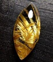 Certificate Natural Gold Rutilated Quartz Pendant Rhombus Titanium Gemstone AAAAA Gift 36x17x11mm Crystal Stone