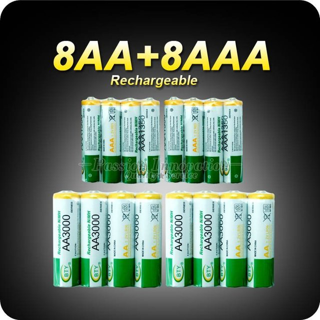 Rechargeable Recharge Battery 8+8 AA AAA NiMH 1.2v Rechargeable Battery Charger AA 3000mAh / AAA 1350mAh