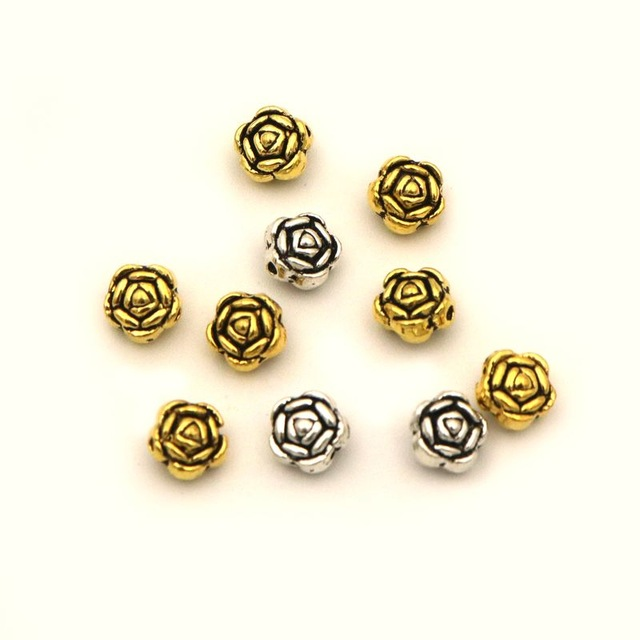 50pcs lot Antique Gold Silver Metal Flower Shape Loose Spacer Beads For Jewelry Finding Diy Making Accessories Wholesale Supply in Beads from Jewelry Accessories