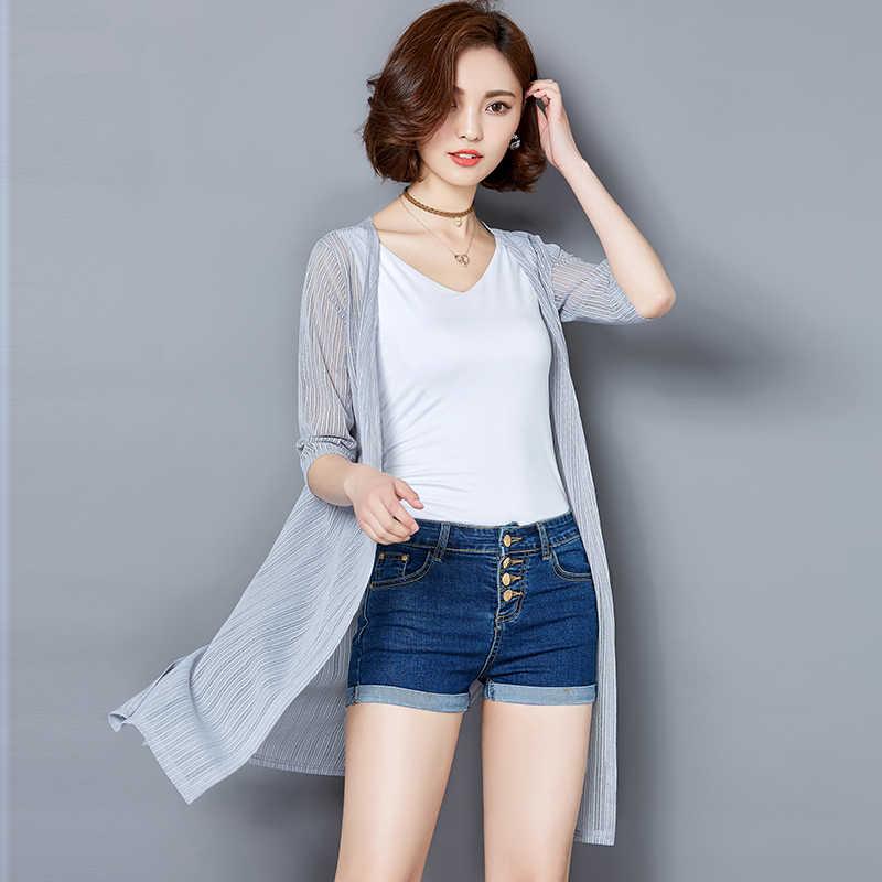 איכות דק קיץ קימונו קרדיגן שמש חולצה חולצת נשים ארוך שיפון חוף כיסוי Ups קרם הגנה Sunproof להאריך ימים יותר XXL