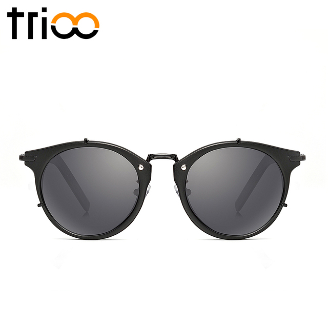 f2f0d9969d TRIOO Polarized Round Sunglasses Men Luxury Brand Vintage Male Lunette  UV400 Protection Mens Shades High Quality