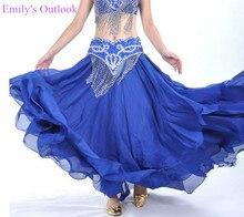 100D spódnica szyfonowa 3 warstwy taniec brzucha huśtawka spódnica Leafroll ATS występ na scenie pokaż kostium wielokolorowy fioletowy darmowa wysyłka