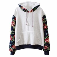 2017 Women Retro Style Pure Color Flower Sleeves Woollen Hooded Sweatshirt Oversized Long Sleeve Pullover Casual
