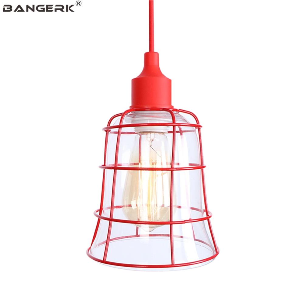 Industrial Vintage Red Pendant Lamp Loft Edison LED Lights Dinning Room Bar Hanging Lighting Home Decor Iron Glass Droplight